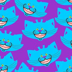 Cheshire cat smile pattern. texture Fantastic pet alice in wonderland. Magic animal background