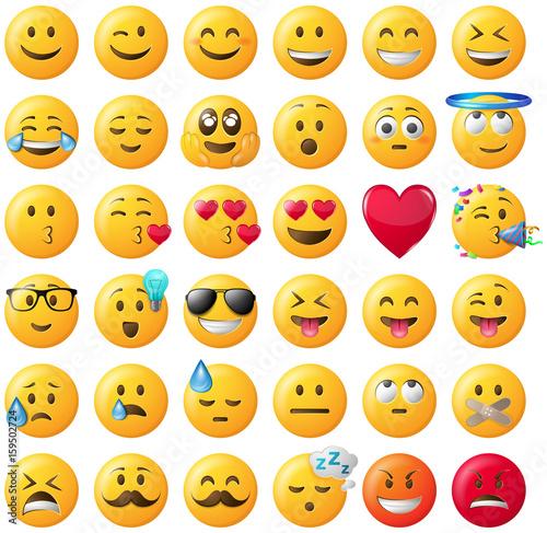 Smileys emoticons set gelb fichier vectoriel libre de droits sur la banque d 39 images fotolia - Image de smiley a imprimer ...