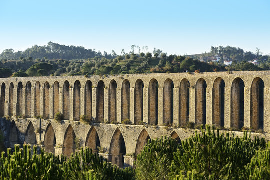 The 16th century Pegoes aqueduct (Aqueduto dos Pegoes), 6 km long, that provides water to the Convent of Christ, a UNESCO World Heritage Site. Tomar, Portugal