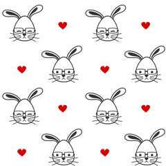 cute cartoon black and white bunnies with eyeglasses seamless vector pattern background illustration