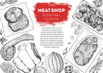Meats and sausages top view frame. Vector illustration. Engraved design. Hand drawn illustration. Meat products design template.