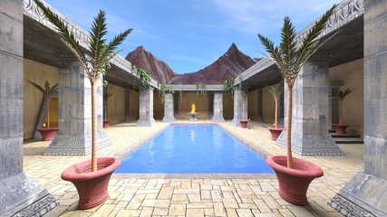 プールのある中庭