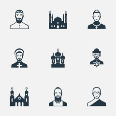 Vector Illustration Set Of Simple Faith Icons. Elements Catholic, Temple, Taoism And Other Synonyms Mosque, Cardinal And Buddhist.