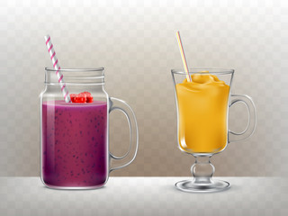 Set of vector illustrations of glasses, cups with smoothies in a realistic style