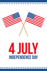 4th of july, american independence day vector flat design illustration, card, banner.
