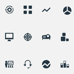 Vector Illustration Set Of Simple  Icons. Elements Construction, Process, Headset And Other Synonyms Finance, Bar And Analytics.