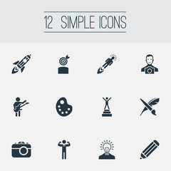 Vector Illustration Set Of Simple Creative Thinking Icons. Elements Creative, Shuttle, Drawing Tool And Other Synonyms Creativity, Fantasy And Exactness.