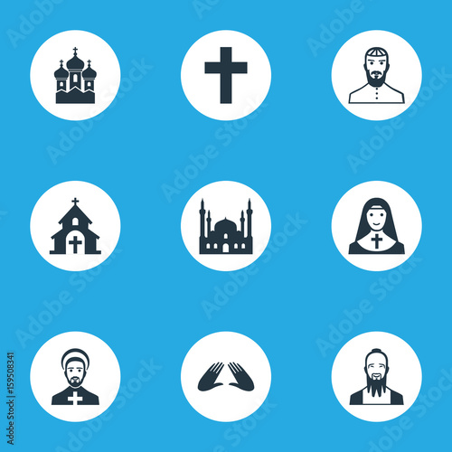 Vector Illustration Set Of Simple Faith Icons Elements Chaplain