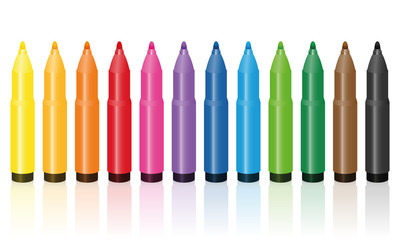 Thick felt tip pens, colorful set, upright standing in a row - isolated vector illustration on white background.