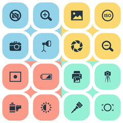 Vector Illustration Set Of Simple Photography Icons. Elements Apparatus Photographer, Camcorder, Rustication And Other Synonyms Instrument, Rim And Copier.