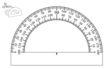 Protractor, paper model to cut out - print it on heavy paper, any page format, the angle measurement functions in each size. Arithmetic unit for mathematics, geometry and architecture.