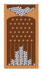 Bean machine, Galton board, wooden textured, iron balls - generating Gaussian bell curve. Education and science tool for mathematics and physics. Isolated vector illustration.