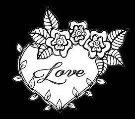 Hand drawn frame flowers heart with love text. Vector illustration