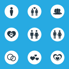 Vector Illustration Set Of Simple Wedding Icons. Elements Communication, Homosexual, Husband Synonyms Leadership, Emotion And Passion.