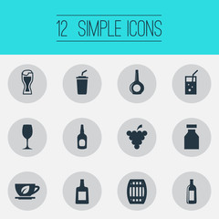 Vector Illustration Set Of Simple Beverage Icons. Elements Cask, Brandy, Cola Synonyms Wine, Pub And Tea.