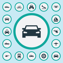Vector Illustration Set Of Simple Transportation Icons. Elements Auto, Cab, Police Car And Other Synonyms Bike, Suv And Cop.