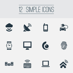 Vector Illustration Set Of Simple Web Icons. Elements Clock, Keypad, Antenna And Other Synonyms Satellite, Monitor And Fingerprint.
