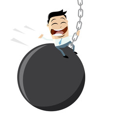 funny businessman swinging on a wrecking ball