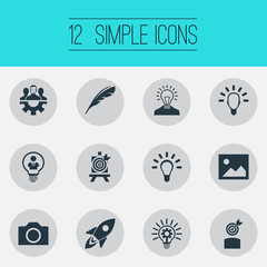 Vector Illustration Set Of Simple Visual Art Icons. Elements Camera, Lightbulb, Team And Other Synonyms Shuttle, Clever And Camera.