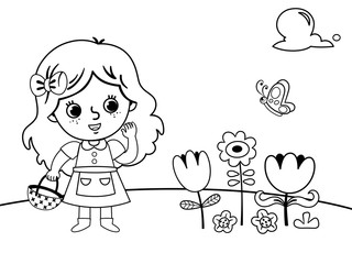 Coloring page in garden concept with a little girl. (Vector illustration)