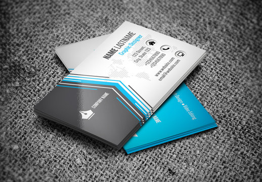 Blue Business Card Layout with Angular Accent Graphics