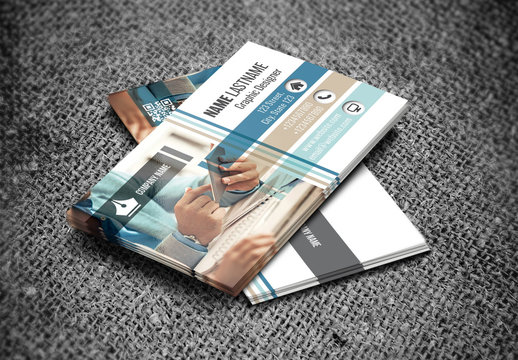 Business Card Layout with Accent Photograph