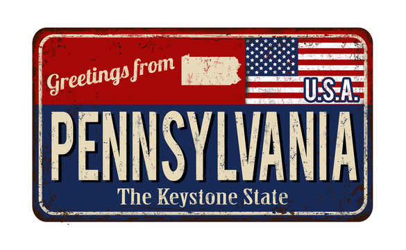 Greetings from Pennsylvania vintage rusty metal sign