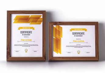 Award Certificate Layout with Orange Accent Shapes