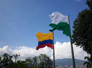 The flags of Colombia and Antioquia in Medellin
