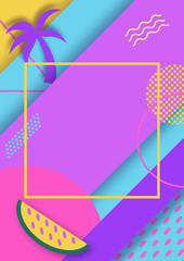 Color trendy vector geometric fashion poster or backgrounds with watermelons and palms, bright summer pattern