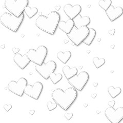 Random white paper hearts. Scattered pattern with random white paper hearts on white background. Vector illustration.