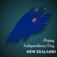 New Zealand Independence Day Patriotic Design. Expressive Brush Stroke in National Flag Colors on dark striped background. Happy Independence Day New Zealand Vector Greeting Card.