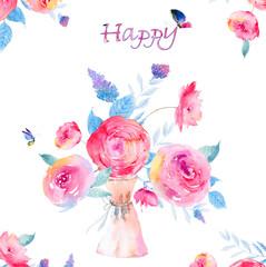 Watercolor Flower Rose Butterfly