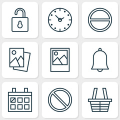 Network Icons Set. Collection Of Shop, Landscape Photo, Time Elements. Also Includes Symbols Such As Open, Time, Alarm.