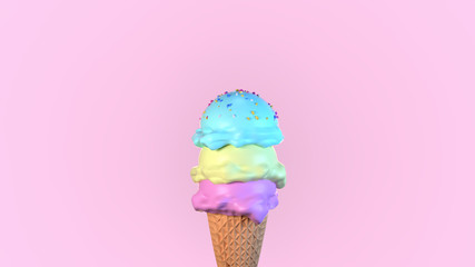 Colorful ice cream. 3d render picture.