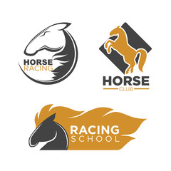 Horse racing club and school isolated logos set