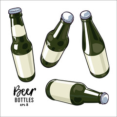 vector beer bottles set