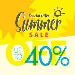 Summer Sale set V.2  40 percent yellow  heading design for banner or poster. Sale and Discounts Concept. Vector illustration.