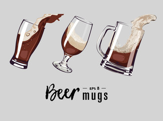 beer mugs set vector