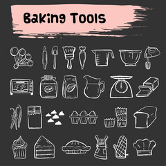 baking tools doodle sketch icon set
