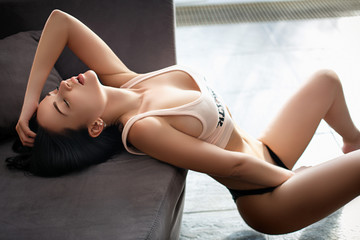 Beautiful sport style girl in a sexy lingerie