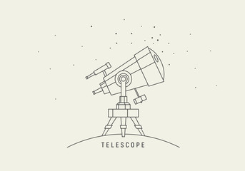 Telescope. Line art vector