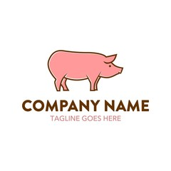 Pig Cartoon Logo Character