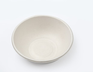 Top view of biodegradable bowl isolated on white with clipping path