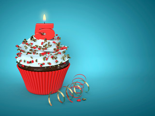 3d sweet cupcake with 5 candle over blue