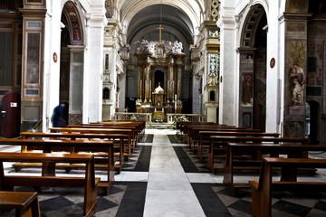 Rome, Italy -   Interior of the Church Trinita del Monti, also Santissima Trinità al Monte Pincio - titular church (from April 13, 1587) in Rome, on top of the Spanish Steps.