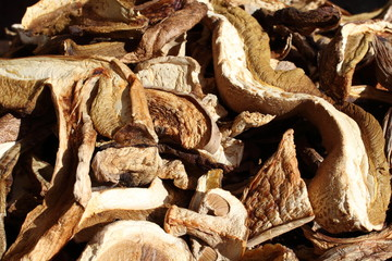 Dried Boletus edulis mushroom chopped strips.