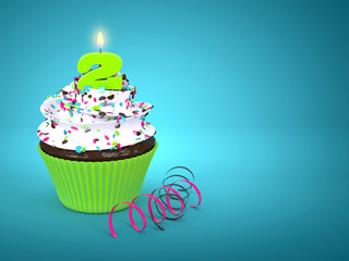 3d sweet cupcake with number 2 candle over blue
