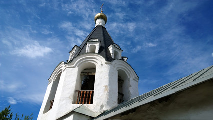 The belfry of the Church of the Archangel Michael in the city of Pskov