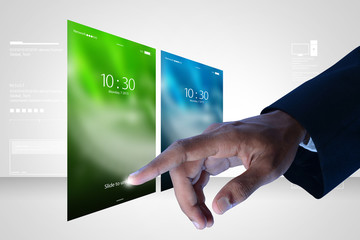 Man hand showing touch screen